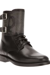 Saint Laurent Studded Patti Ankle Boot - Lyst