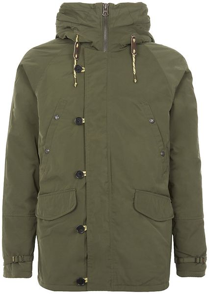 scotch soda parka jacket with inner bomber in green for. Black Bedroom Furniture Sets. Home Design Ideas