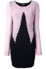 Sonia Rykiel Zig Zag Knitted Jumper Dress - Lyst