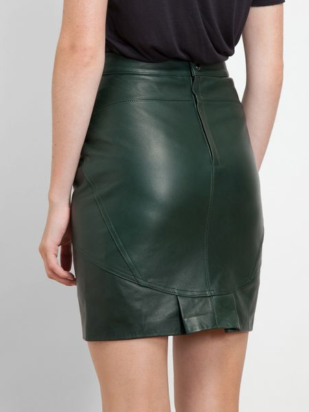 t by wang leather pencil skirt in green lyst