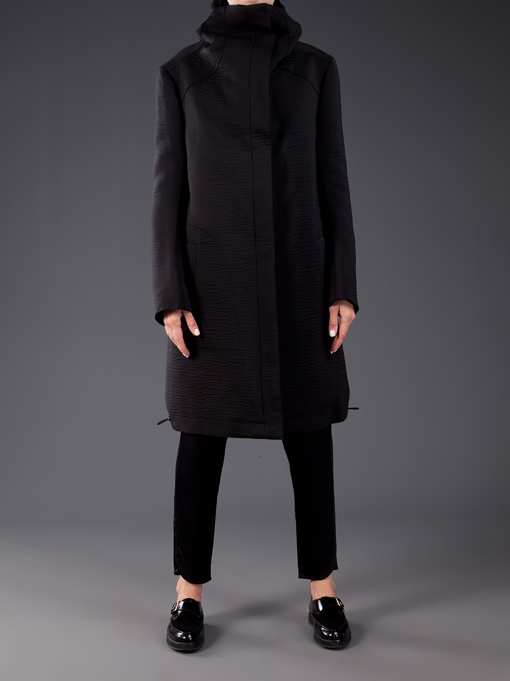 Thamanyah Hooded Long Coat in Black | Lyst