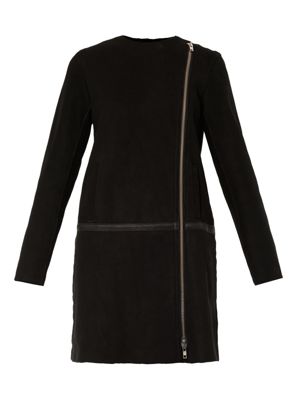 Theory Shearling Lined Collarless Coat in Black | Lyst