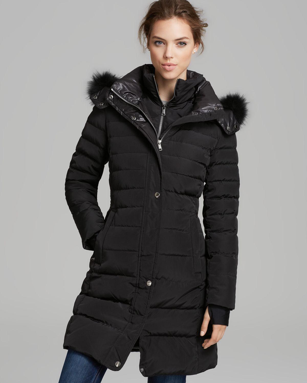 Lyst Andrew Marc Down Coat Fur Trim Sport Hooded In Black