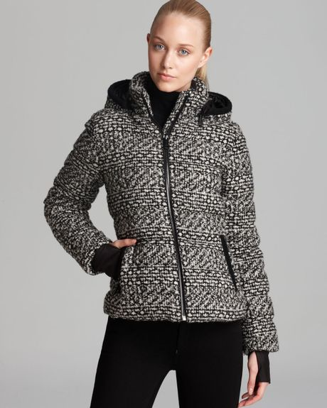 Andrew Marc Down Jacket Printed Removable Hood In Black