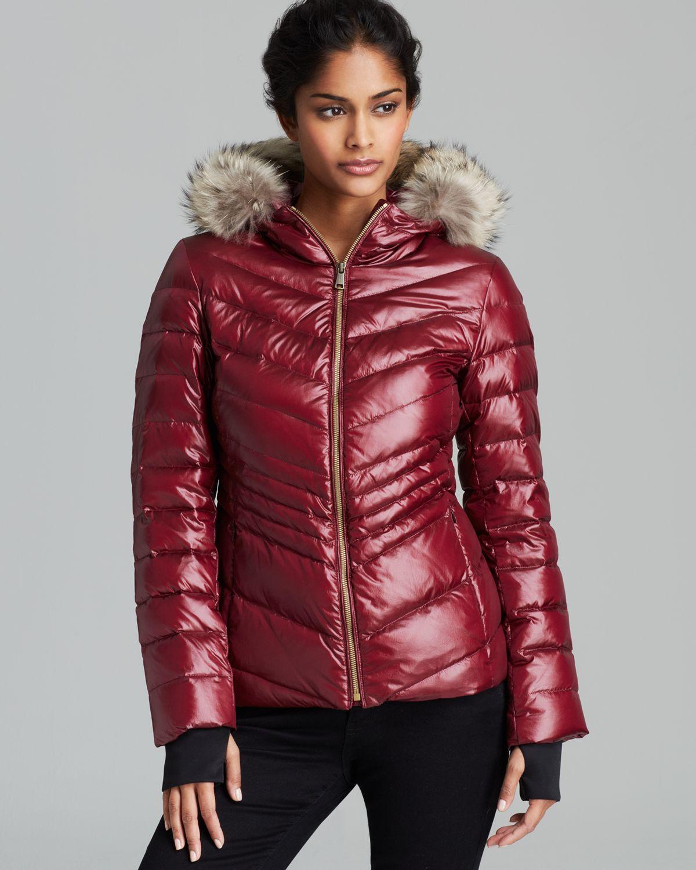 Andrew marc Down Coat Fur Trim Hood in Red | Lyst