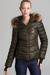 Andrew Marc Down Jacket Camo Fur Trim Hood - Lyst
