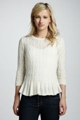 Autumn Cashmere Pointelle Cashmere Peplum Sweater Winter White - Lyst