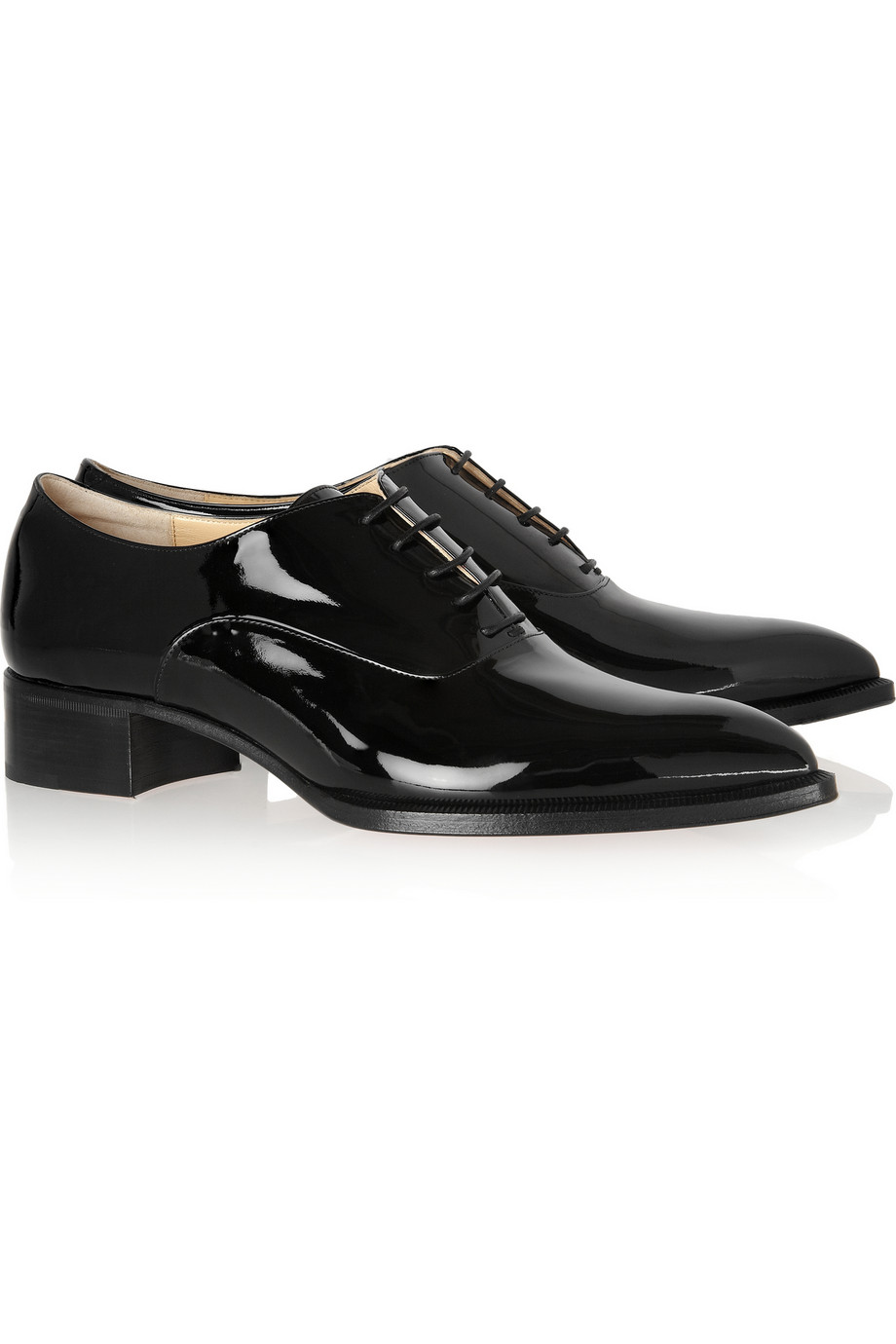 Christian Louboutin Zazou Patentleather Brogues In Black