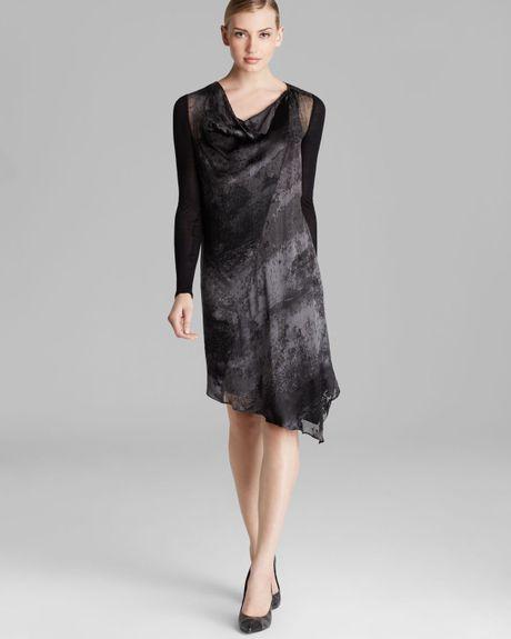 Asymmetric Drape Dress: Dkny Asymmetric Drape Neck Dress In Gray (Ash Grey/Multi