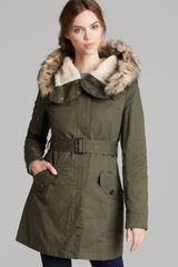 DKNY Jacket Faux Fur Trimmed Hooded - Lyst