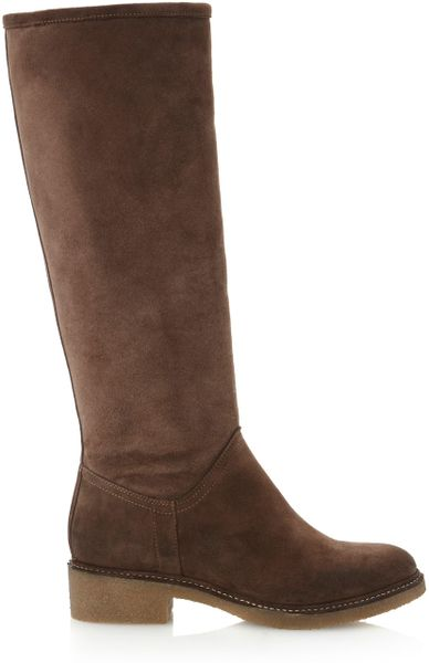 dune tangfaux fur lined high boots in brown lyst