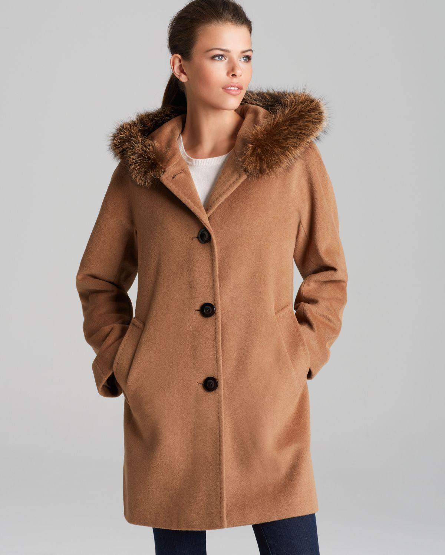 Ellen tracy Coat Fox Fur Trimmed Hood in Brown | Lyst