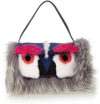 Fendi Owl Baguette Mink Shearling and Fox Shoulder Bag - Lyst