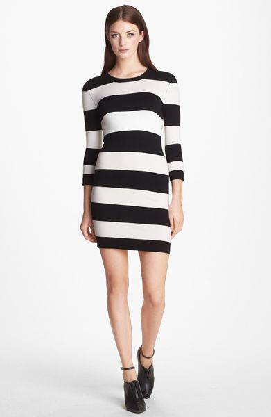French Connection Stripe Sweater Dress In White Black