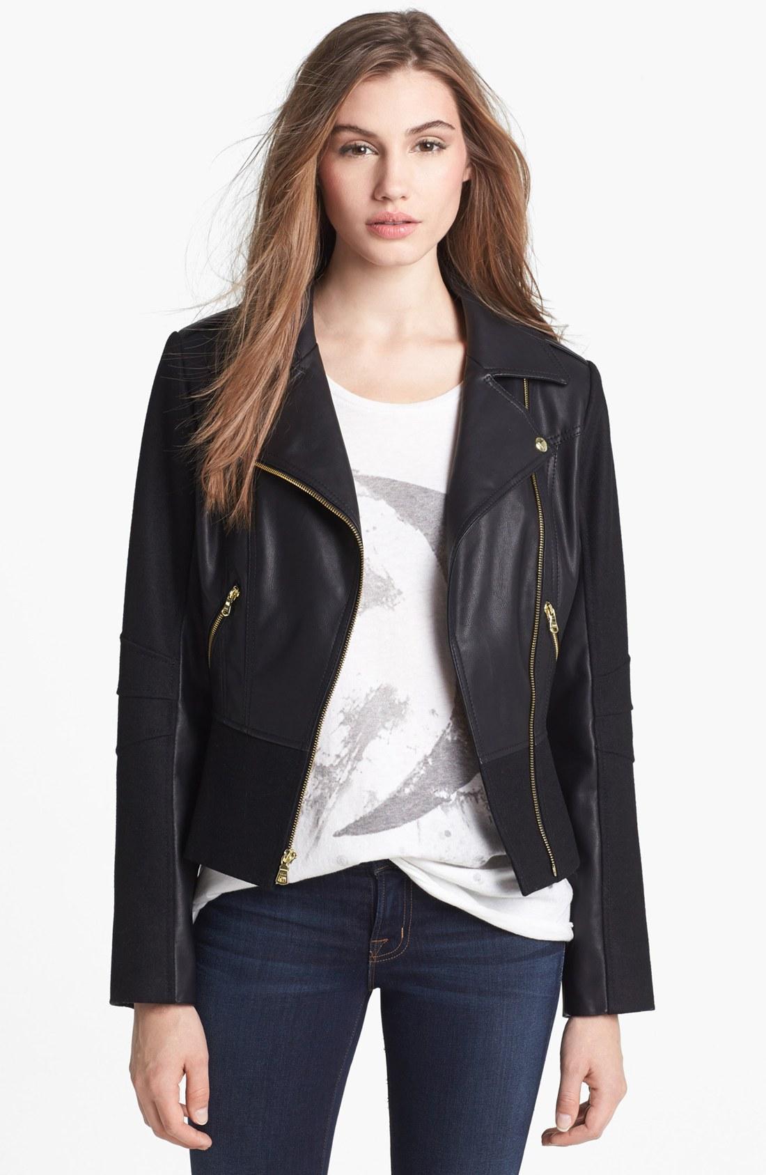 Faux black leather jackets