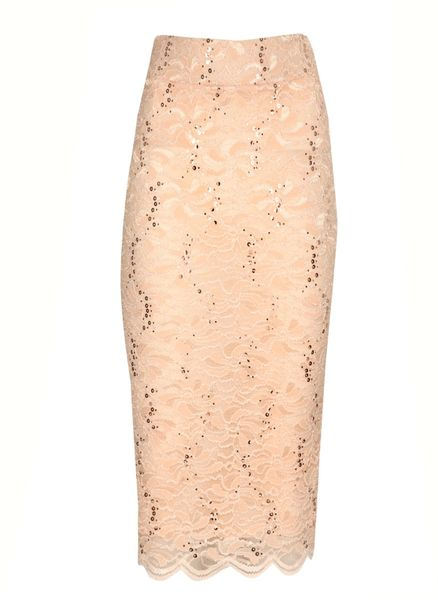 norman sequin lace pencil skirt in pink lyst