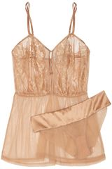 La Perla El Color Rojo Lace Satin and Stretchtulle Chemise and Briefs - Lyst