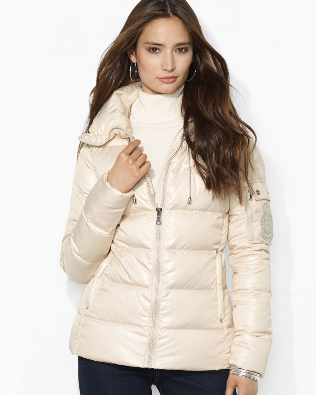 Lauren By Ralph Lauren Funnel Neck Puffer Jacket In