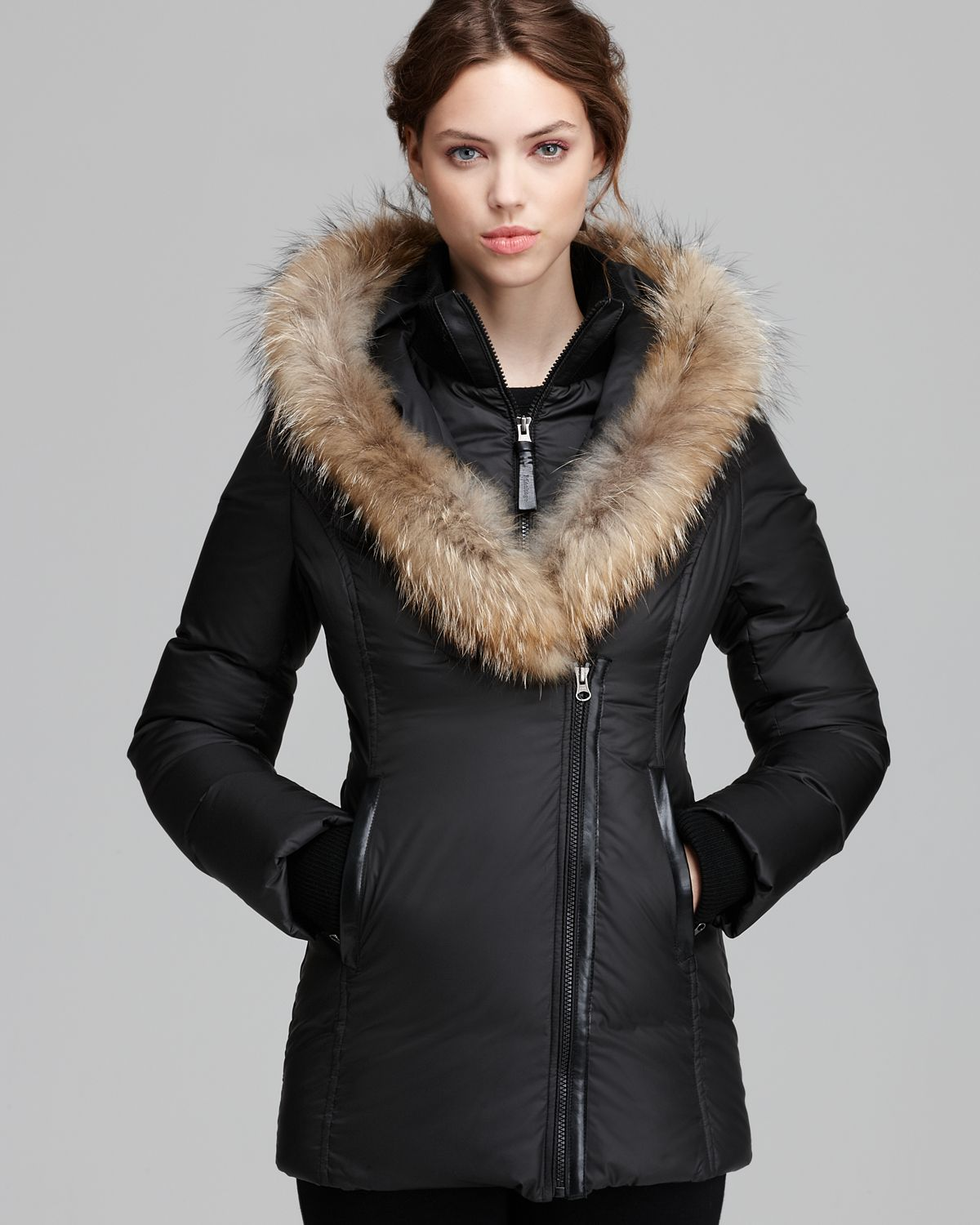 Mackage Down Coat Adali Lavish Fur Trim Hood in Black | Lyst
