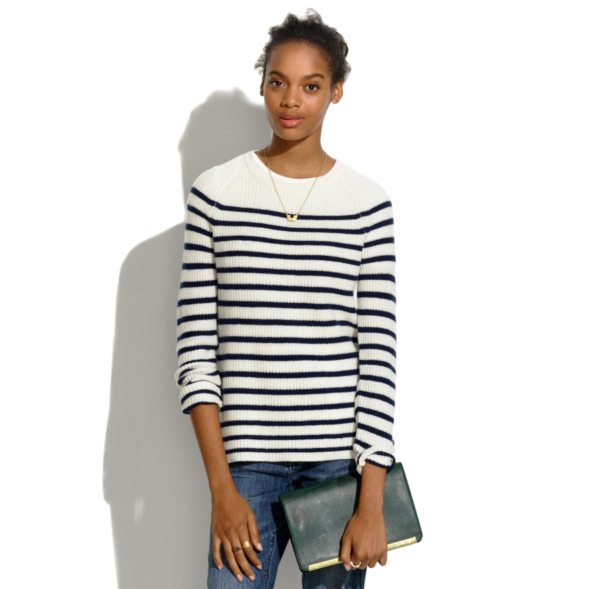Madewell elbowpatch stadium sweater in stripe black lyst