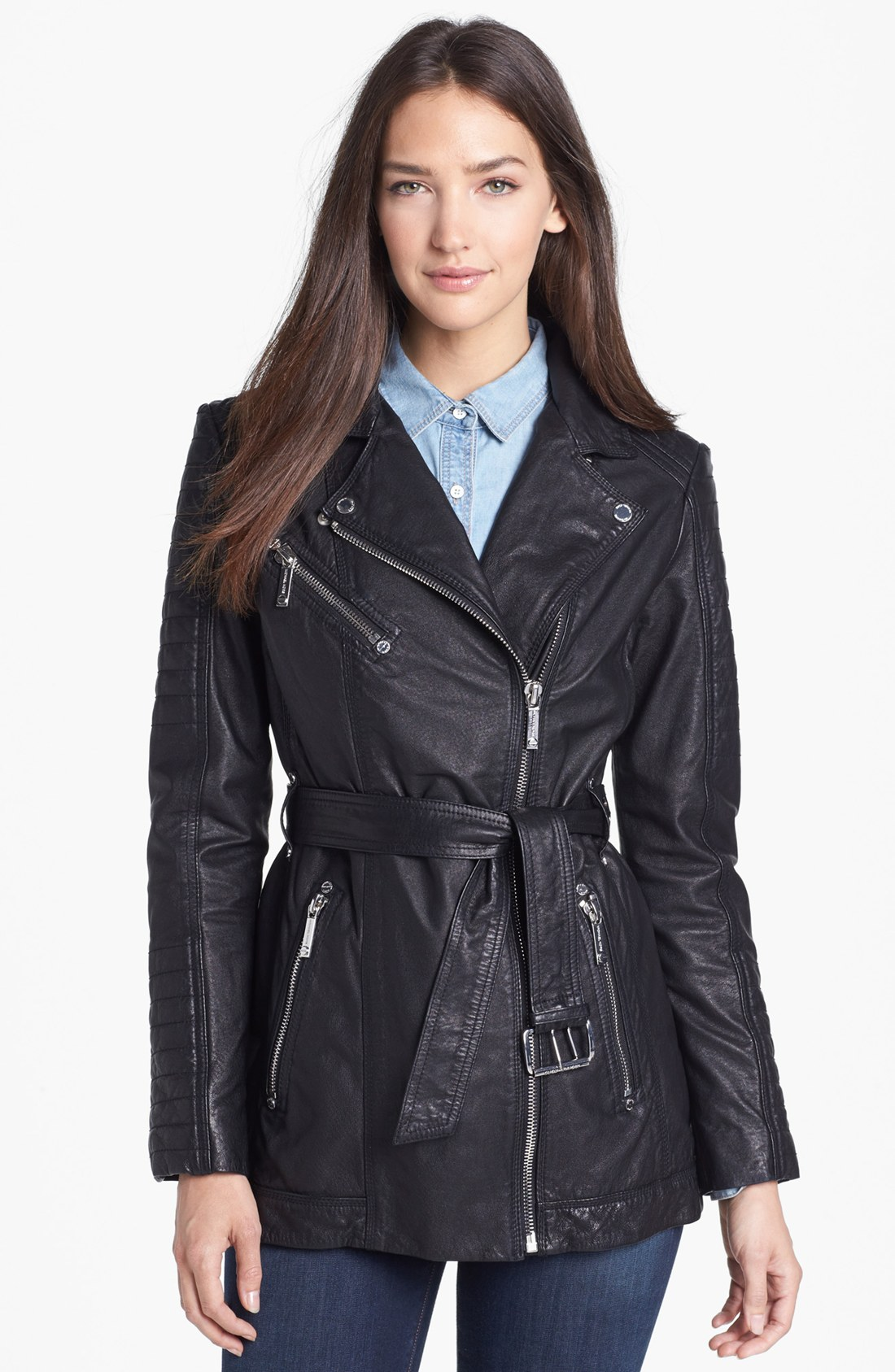 michael michael kors belted leather moto jacket in black. Black Bedroom Furniture Sets. Home Design Ideas
