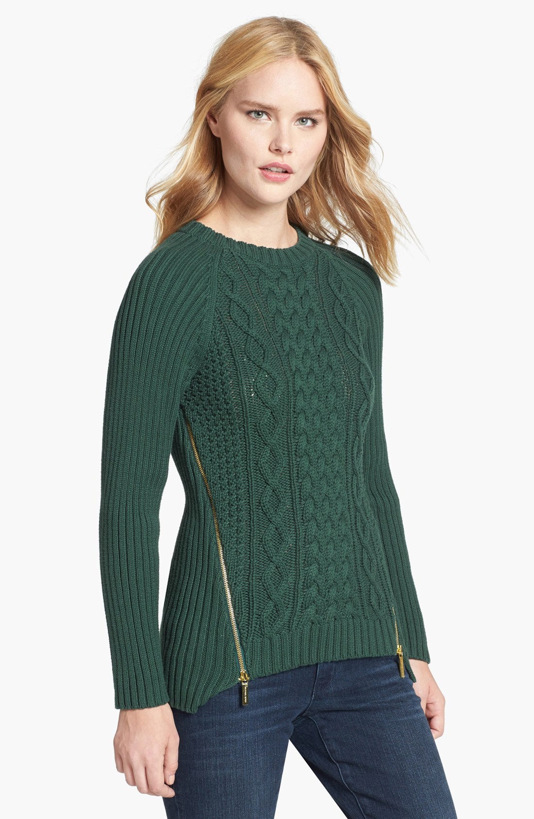 Michael Michael Kors Side Zip Cable Knit Sweater In Green