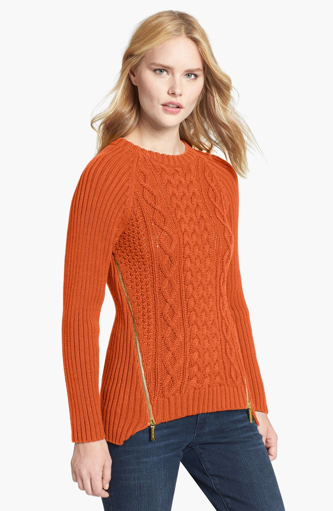 Michael michael kors Side Zip Cable Knit Sweater in Orange | Lyst