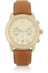 Michael Kors Mercer Goldtone and Leather Chronograph Watch - Lyst