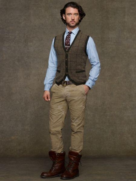 Polo Ralph Lauren Glen Plaid Wool Vest In Brown For Men