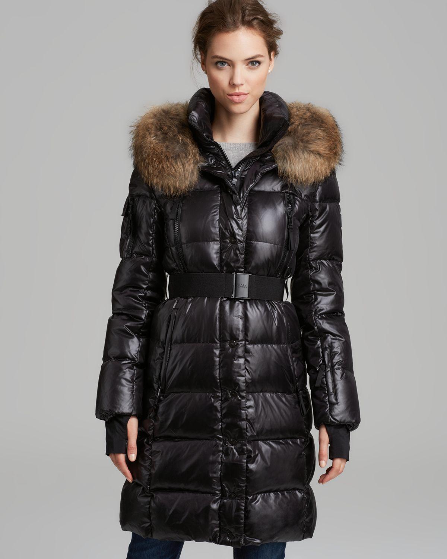 Sam Down Jacket Millenium Double Front Fur Trim In Black