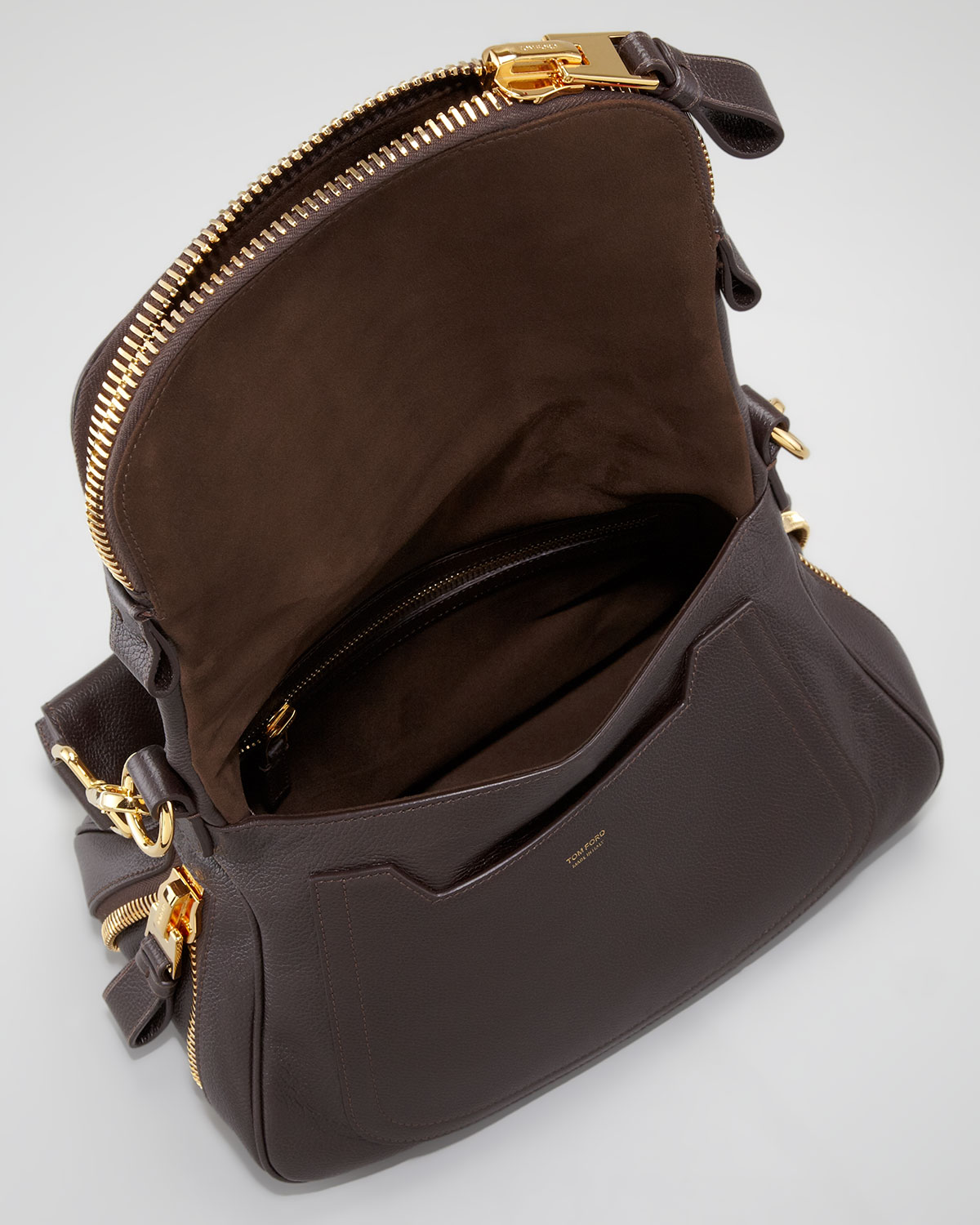 Tom ford Jennifer Medium Zip Strap Shoulder Bag Dark Brown in ...