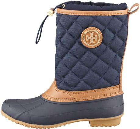 Tory Burch Denal Quilted Rain Boot Bright Navy In Blue