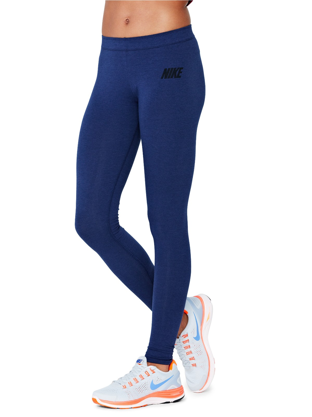 nike nike leg a see leggings in blue navy lyst. Black Bedroom Furniture Sets. Home Design Ideas