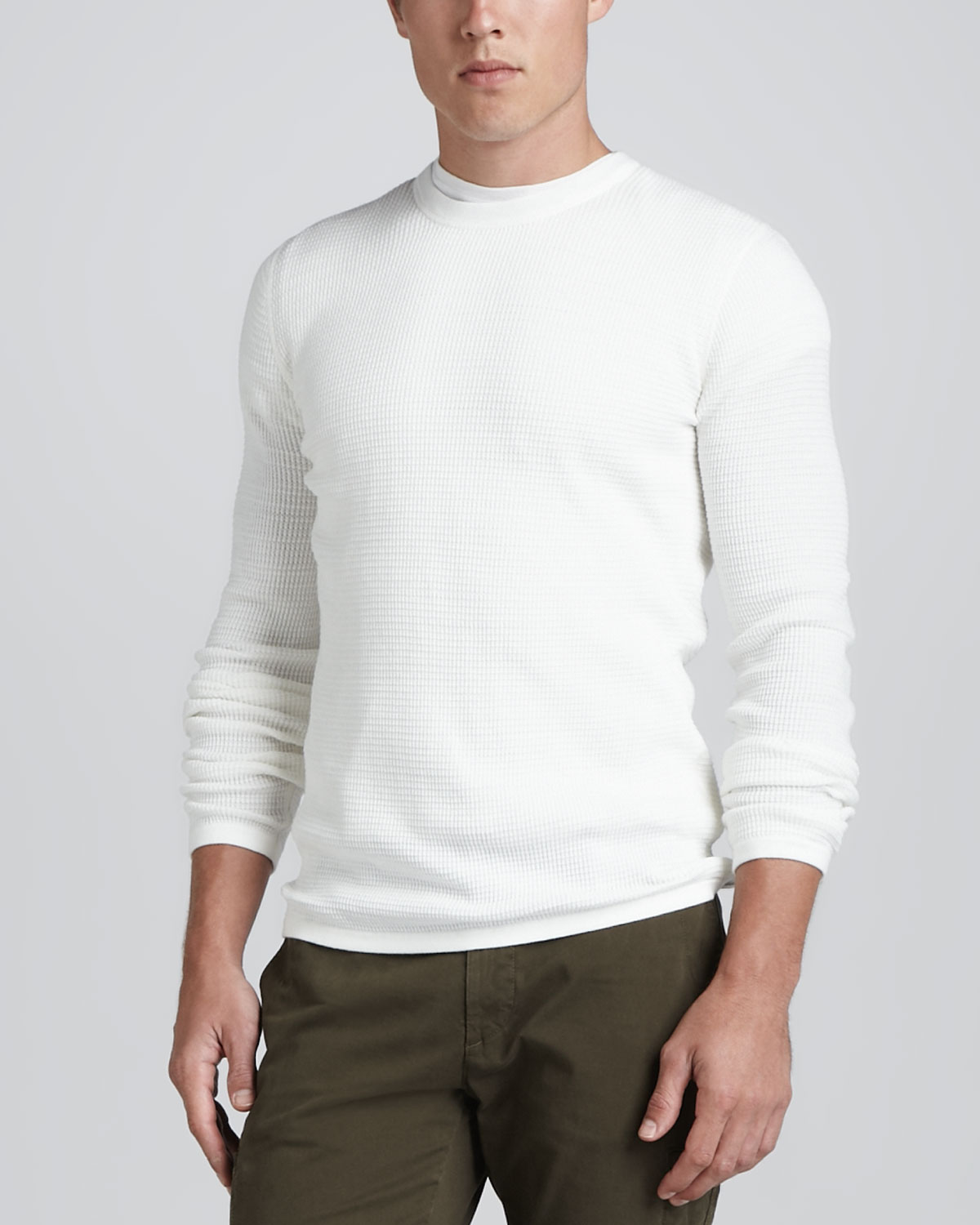 vince long sleeve thermal sweater white in white for men lyst. Black Bedroom Furniture Sets. Home Design Ideas