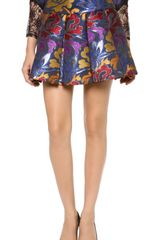 Alice + Olivia Alice Olivia Oksana Box Pleat Embroidered Skirt - Lyst