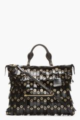 Burberry Prorsum Black Patent Leather Fringed Grommet Tote - Lyst