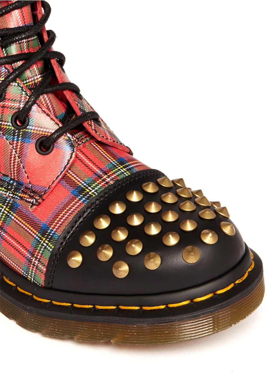 Lyst Dr Martens Dai Studded Tartan Boots In Red