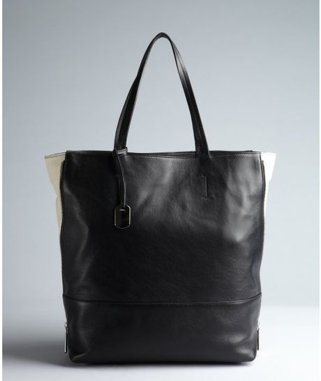 Furla Black And White Leather Amazonne Zip Side Tote In