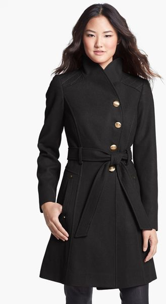 Guess Belted Asymmetrical Wool Blend Coat - Lyst