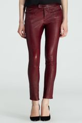 Helmut Lang Cropped Leather Stove Pipe Pants - Lyst