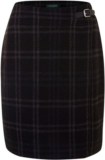 Lauren by Ralph Lauren Tartan Skirt with Buckle Side Fastening - Lyst