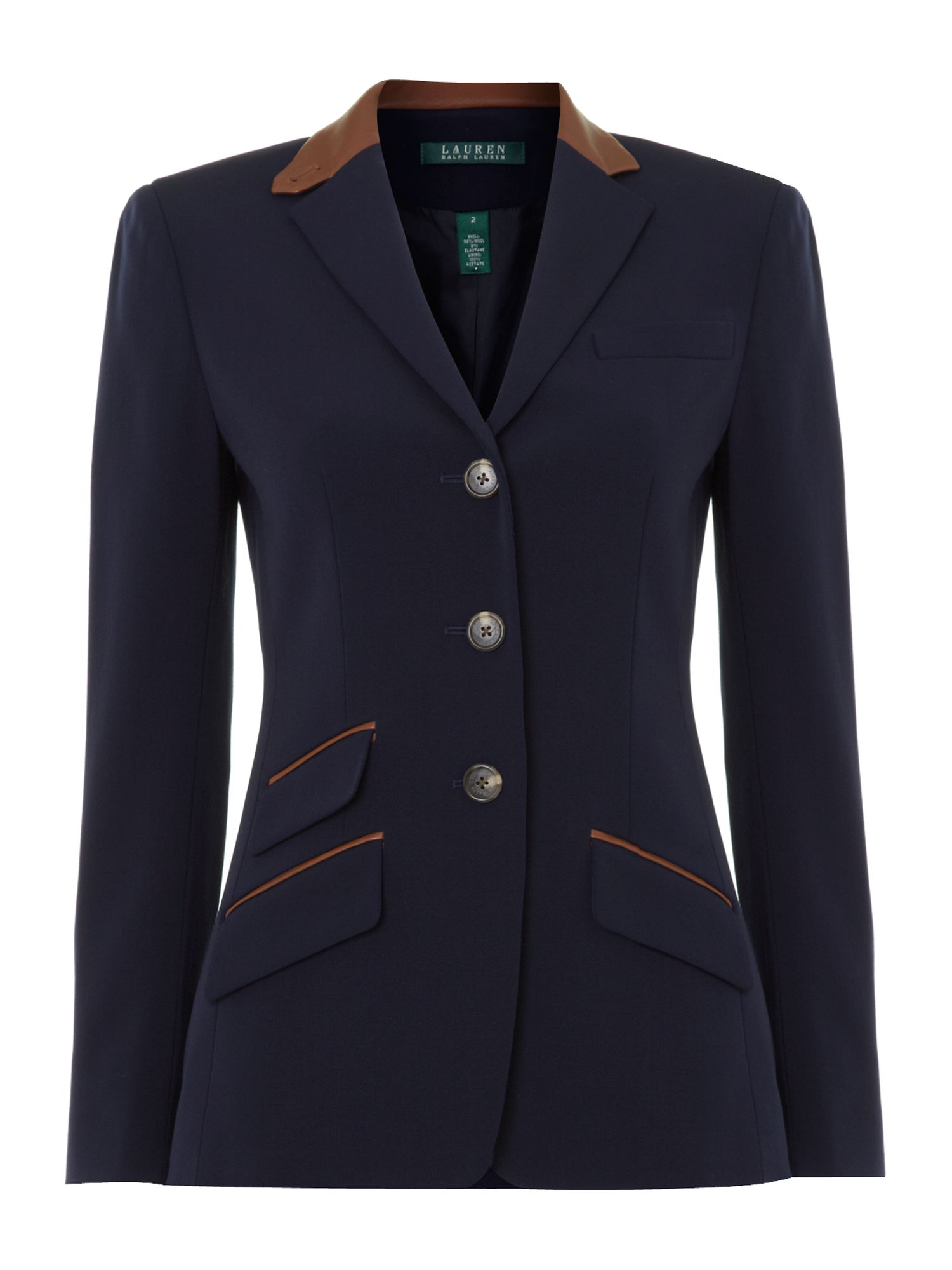 lauren by ralph lauren blazer with leather collar detail in blue navy lyst. Black Bedroom Furniture Sets. Home Design Ideas