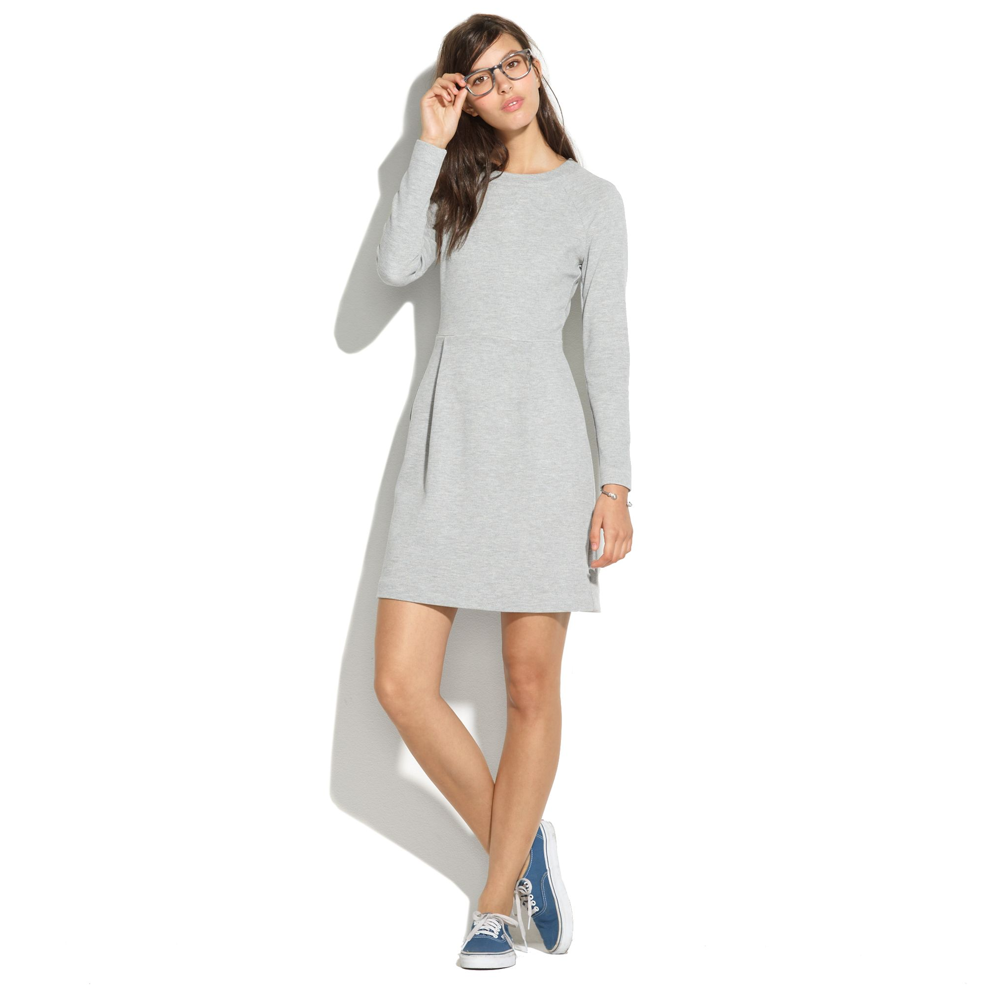 Madewell longsleeve sweatshirt dress in gray hthr medium grey lyst
