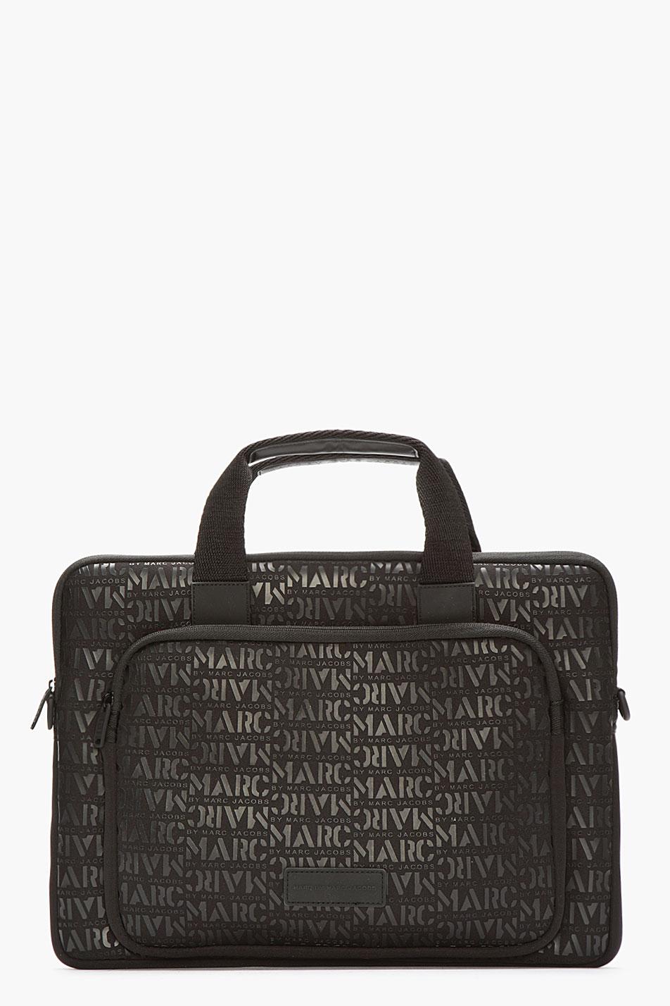 marc by marc jacobs black neoprene logomania 15 laptop commuter bag in black for men lyst. Black Bedroom Furniture Sets. Home Design Ideas