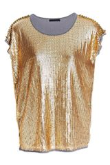 Pinko Illica Jewelled Sequin Top Gold - Lyst