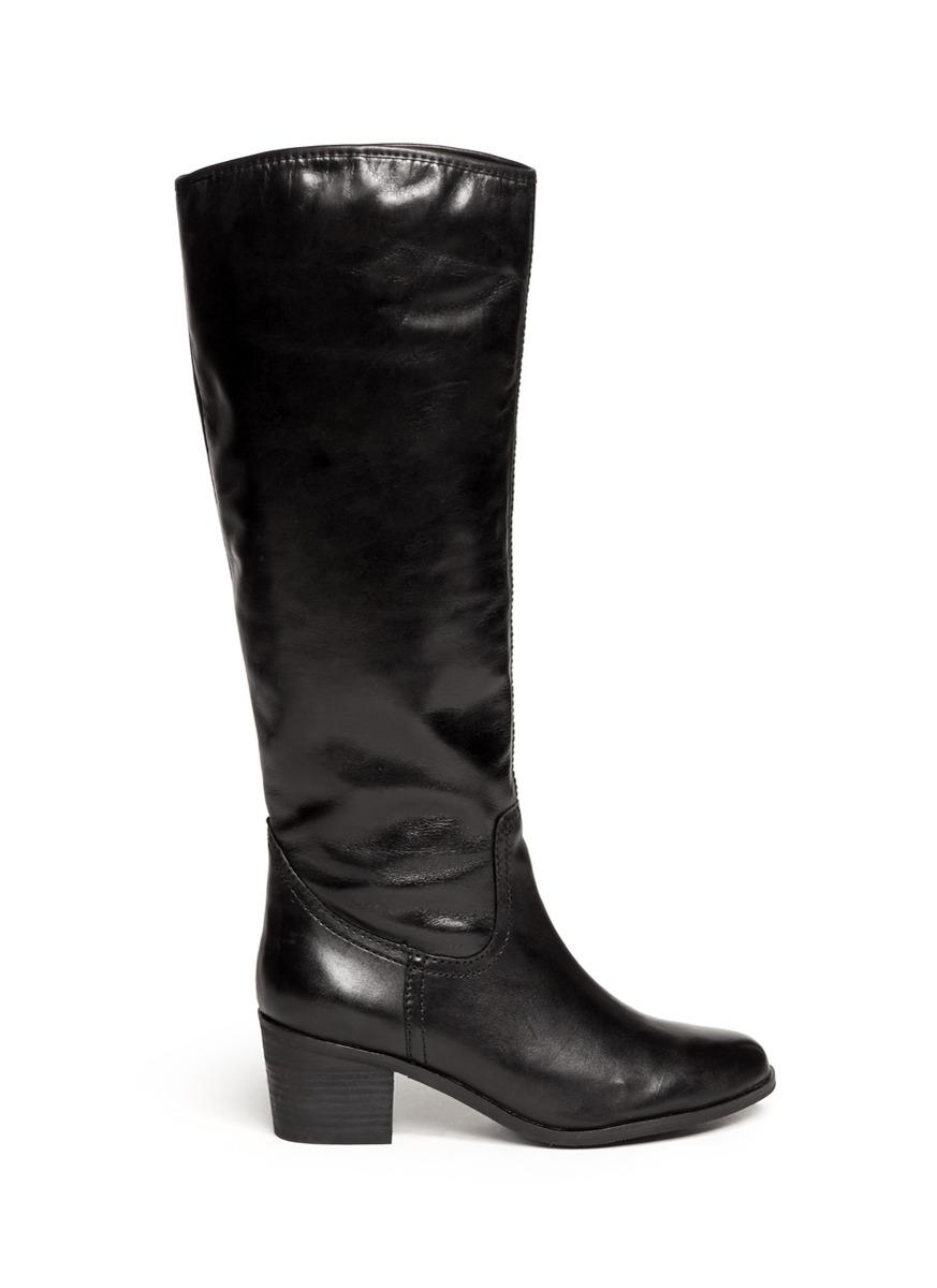 sam edelman loren leather boots in black lyst