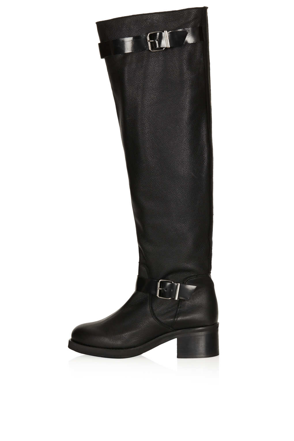 topshop dodger high leg strappy boots in black lyst