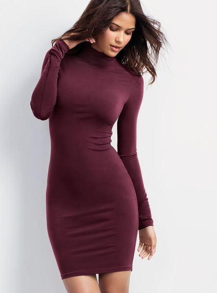 Victoria 39 S Secret Jersey Turtleneck Dress In Red Pinot
