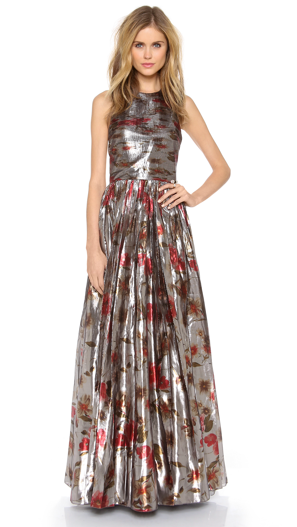 Lyst Alice Olivia Nova Tiered Gown In Metallic