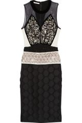 Antonio Berardi Embellished Velvet Crepe and Jacquard Dress - Lyst